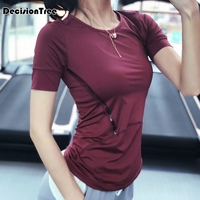 2019 summer style fitness women sports t shirt running short sleeve quick dry breathable gym sexy hollow nylon sportswear tops