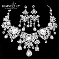 Gorgeous Large European Style  Large European Style Crystal Rhinestones Bridal Wedding Jewelry Sets Statement Necklace Earrings