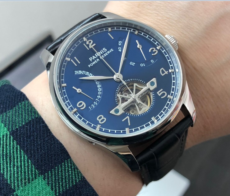 new blue dial 43mm PARNIS Automatic Self Wind mechanical movement men watches power reserve Mechanical watches