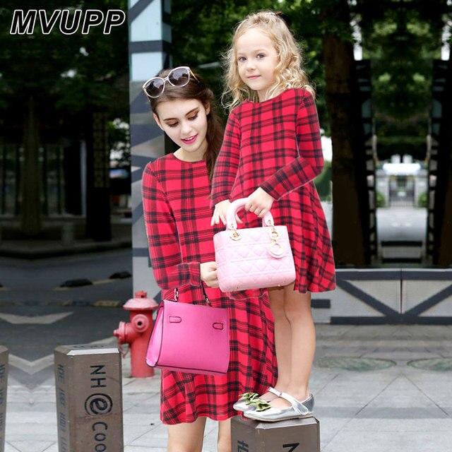 Mvupp Mutter Tochter Kleider Kleidung Rot Blau Farbe Plaid Kleid Familie Passenden Outfits Weihnachten Mama Und