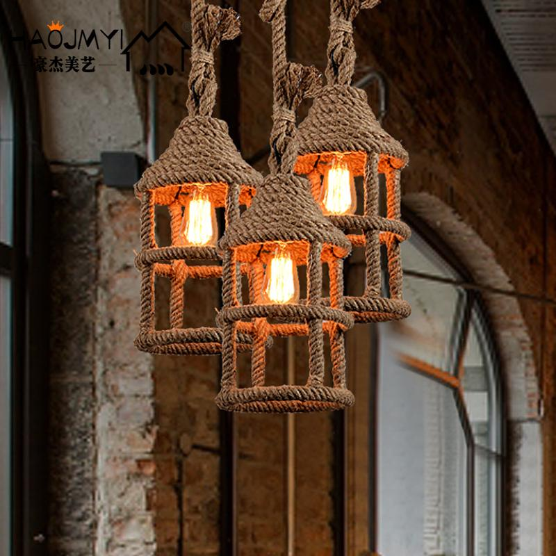 American country iron rope lamp loft personality retro restaurant bar room bar Coffee small Chandelier nordic american country retro industrial loft restaurant bar creative personality living room small metal frame lamp chandelier