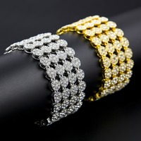 Hip Hop Full Rhinestones Paved Bling Iced Out Geometric Round Bracelets Bangles for Men Rapper Jewelry Gold Silver