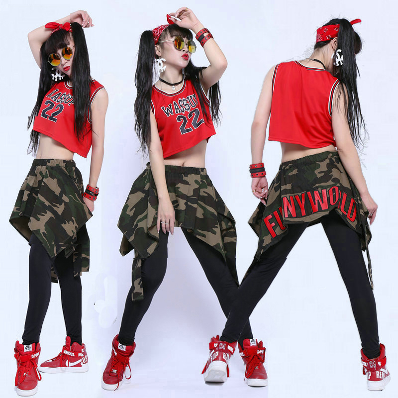 Hip Hop Dance Costume Loose Vest Camouflage Pants Women Street Dancing Stage Outfit Jazz Clothing Cheerleader Costumes DT1062