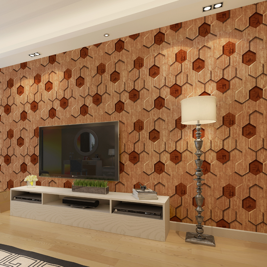 Modern 3d wood pattern wallpaper tile shape 6 sided wood for Living room 6 letters