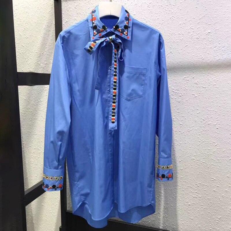 Повседневная Однотонная рубашка Женская Длинная блузка корейская мода Женские топы передний короткий и задний длинный Bluse аппликации цвет
