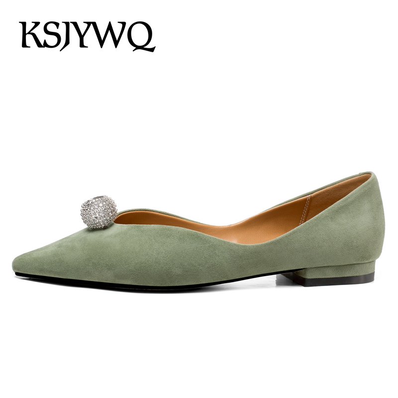 KSJYWQ Genuine Leather Plus Size Women Flats Sexy Pointed-toe Casual Shoes Summer Style Slip-on Shoes Woman Box Packing 9342-2 tangnest women flats 2017 summer style casual pointed toe slip on flat shoes soft comfortable shoes woman plus size 35 40 xwc267