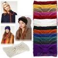 Las mujeres Crochet Bow Punto Headwrap de la Venda Del Pelo de Invierno Ear Warmer Turbante Diadema 2MCW 38VG