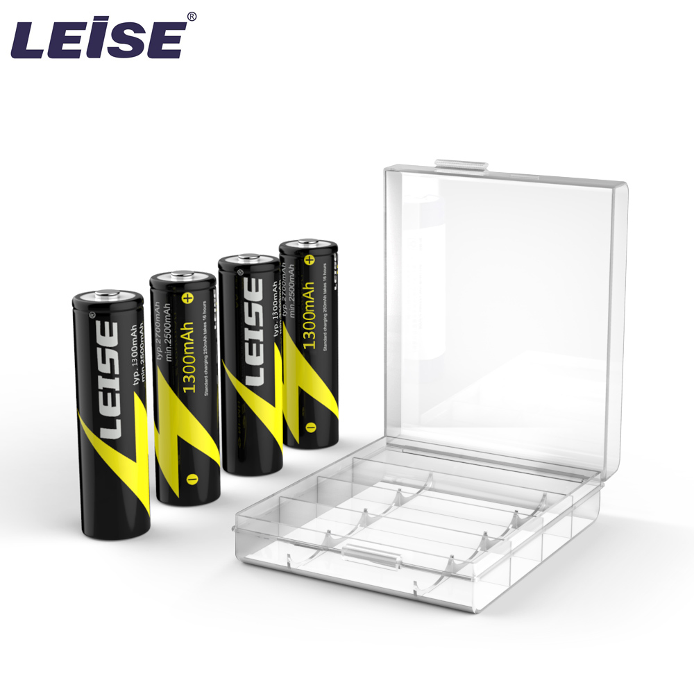 LEISE AA Rechargeable Battery 1.2v 1300mah 2A NI-MH Batteries With Battery Case Package For Sale Free Shipping  For RC Toy/Clock