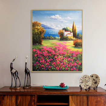 Original Mediterranean landscape painting on canvas art oil texture flower mountain Wall Art picture for living room quadros