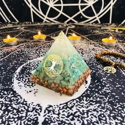 AURAREIKI Orgonite Пирамида Raziel visuddha чакра белый кристалл Амазонит Смола украшения вера творчества Пирамида