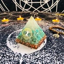 Orgonit Piramidi Raziel Vishuddha Çakra Beyaz Kristal Amazonite Reçine Takı Dekorasyon İnanç Yaratıcılık Piramit