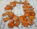 Orange Sea Sediment Jasper Top Drilled Slab Beads,Emperor Stone Slice Beads,Aqua Terra Jasper DIY Necklace 20-25x32-35mm
