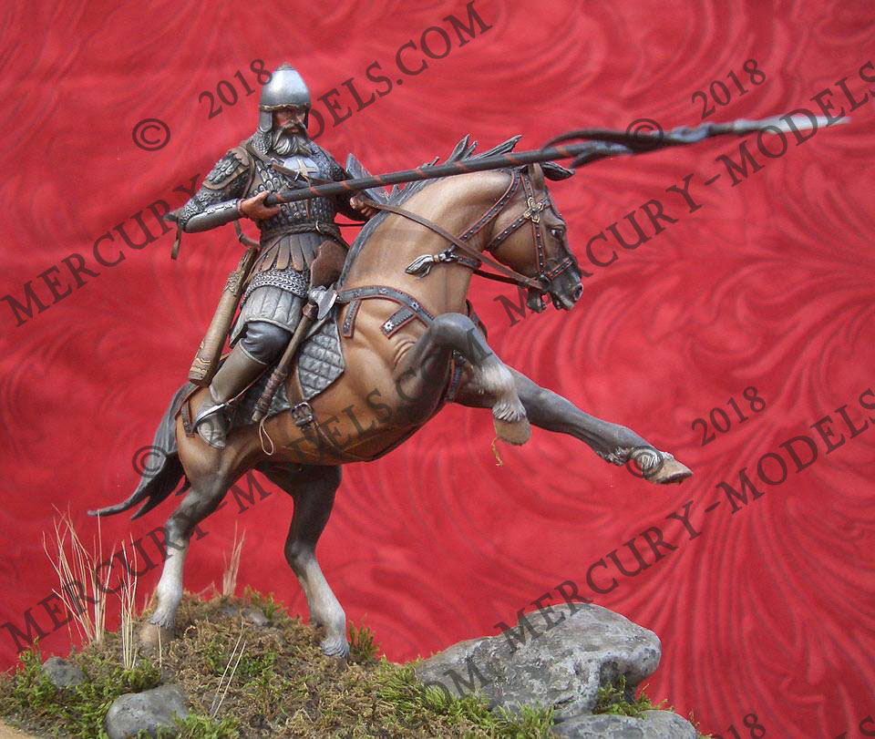1/ 24 54mm soldier with sword and the horse Resin figure model kit