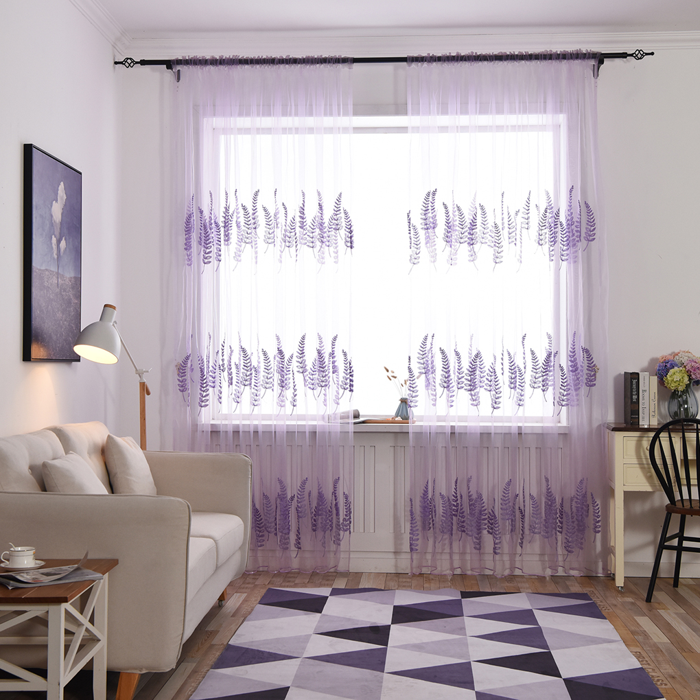 Lavender Sheer Curtains Lavender Embroidery Sheer Tulle Window Curtains Bedroom Kitchen Cortina Drapes Home Decor Screening Drapery In Curtains From Home Garden On