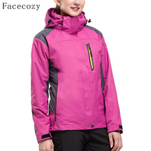 Facecozy Women Outdoor Autumn Hooded Hiking Camping Jackets Female Windproof Climbing Coat Mountaineering Fishing Clothes