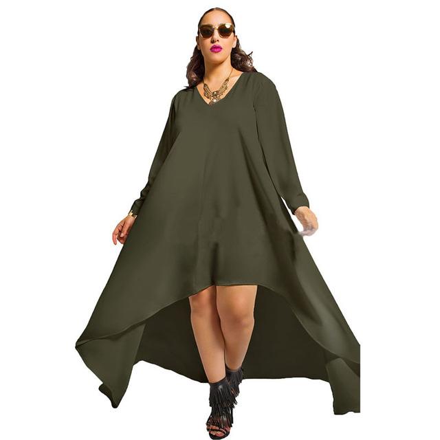 La venta a través de 2017 del resorte nuevas mujeres casual yardas grandes falda irregular flojo de manga larga T-shirt envío gratis