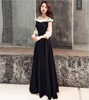 Illusion tulle sleeves evening dresses longo classical black party gown 2019 new year prom dress gown Vestido de noiva