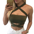 Summer Sexy Bustier Crop Tops Women Hollow Out Backless Ladies Female Bandage Halter Tank Tops WI455