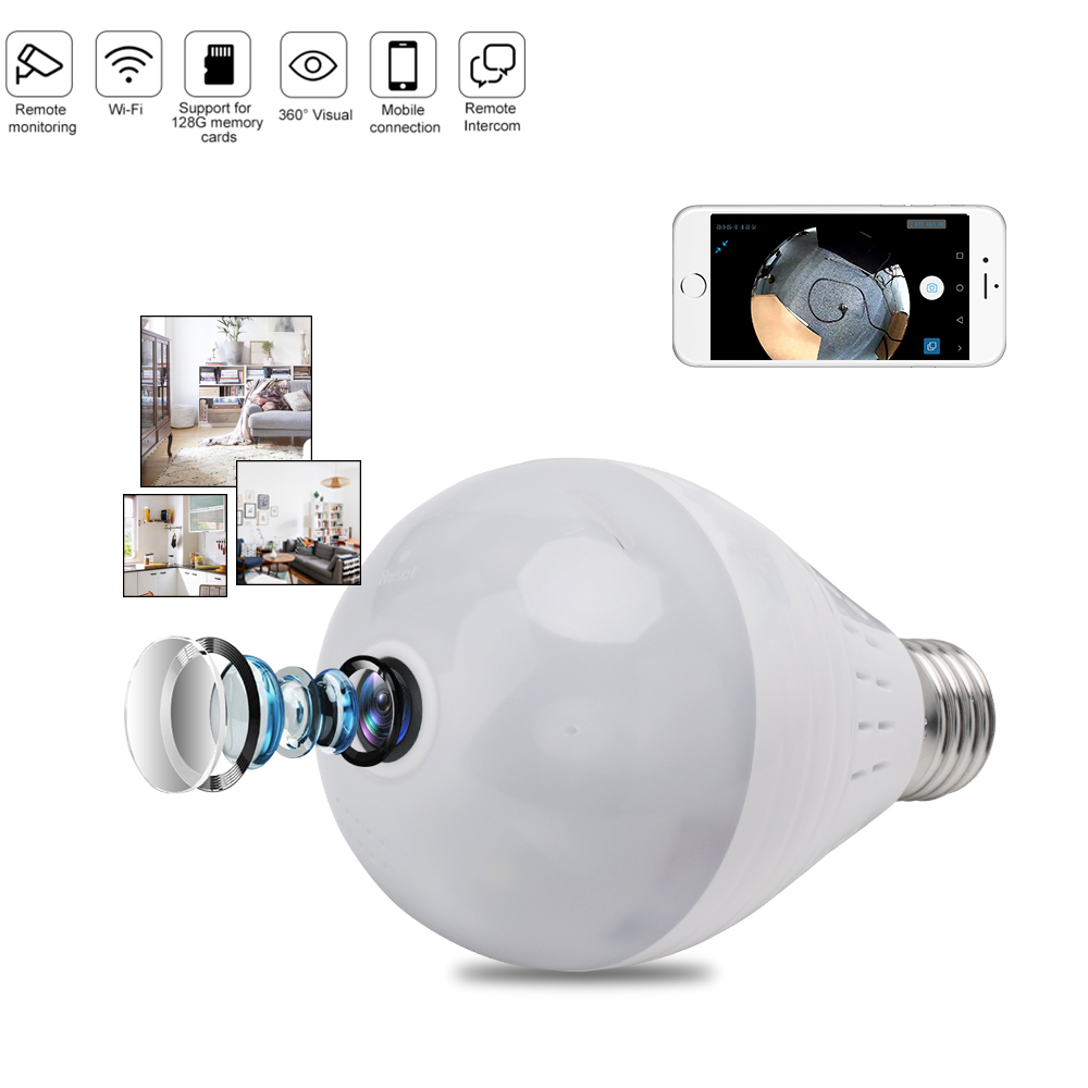 VR Full HD 1080P Wifi Camera IP 360 Security Lamp Panoramic Bulb CCTV Video Surveillance Fisheye HD Night Vision Corridor Light