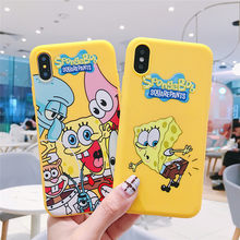 JAMULAR Cartoon SpongeBob Patrick Phone Case For iPhone XS MAX X XR 7 6 6s 8 Plus Soft Silicone Back Cover Yellow Fundas Coque(China)
