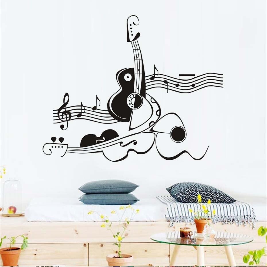 Adhesivos abstracto creativo Guitarras y Violines vinilo Wall ...