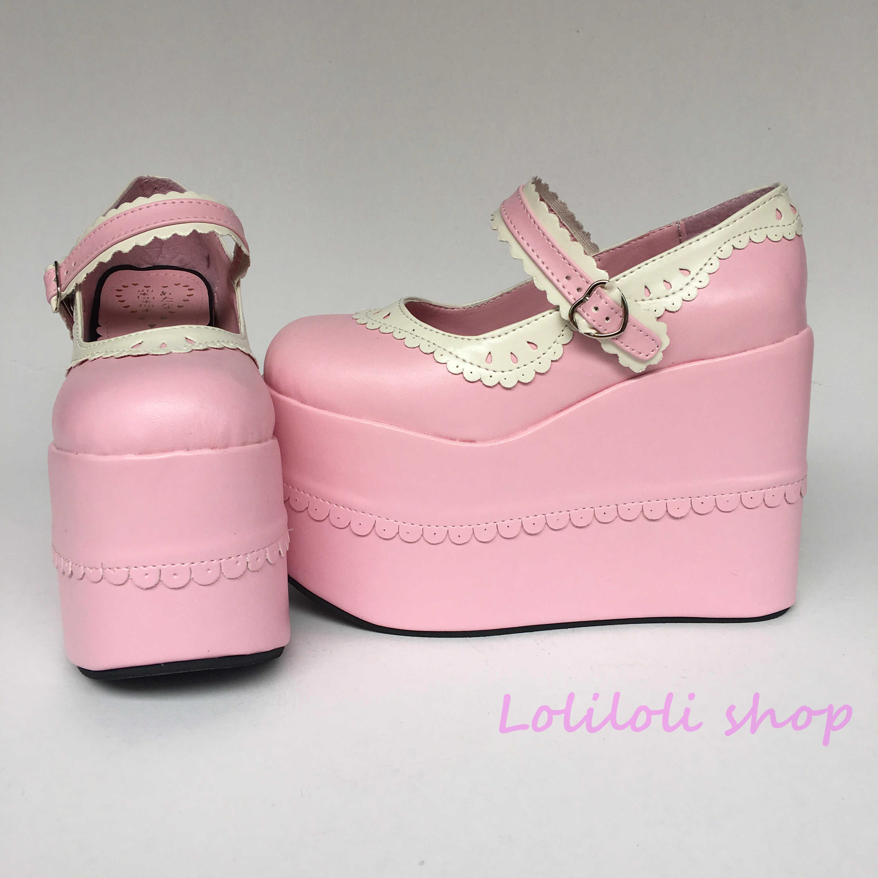 Princess sweet lolita shoes Lolilloliyoyo antaina Japanese design cos shoes custom thick bottom pink PU flat platform shoes 9955 цена