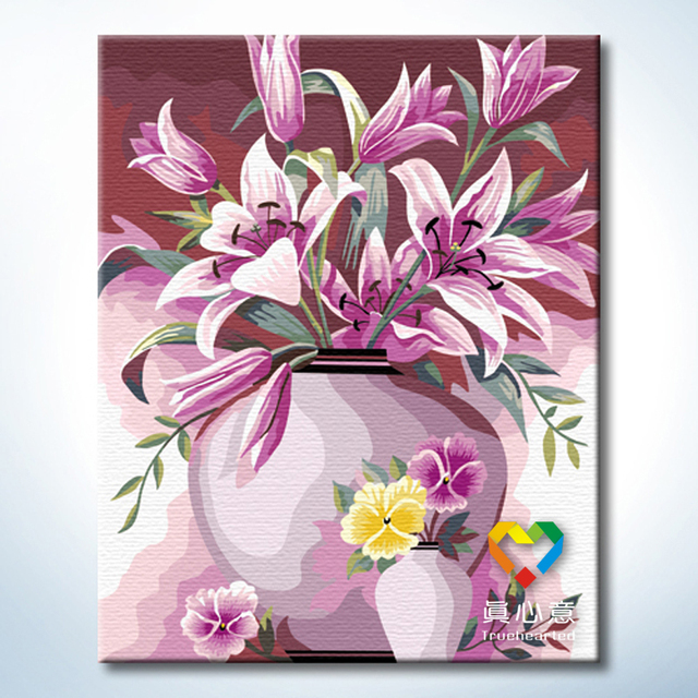 - cherry colored drawing diy digital oil painting background painting - elegant lily 40 50