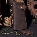 Men's Large Capacity Brown Calf Genuine Tan Leather Long Wallet Male's Business Zippy Cowhide Purse