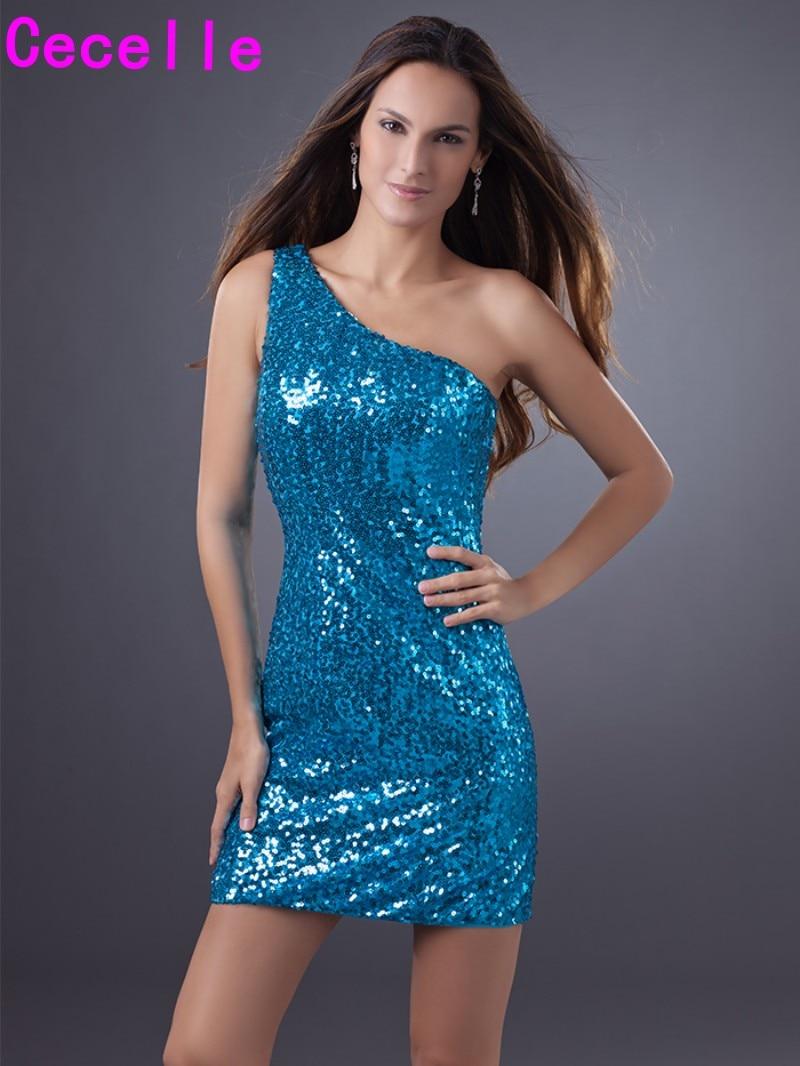 Sparkly Blue Sequins One Shoulder Cocktail Dresses Short Mini Club ...