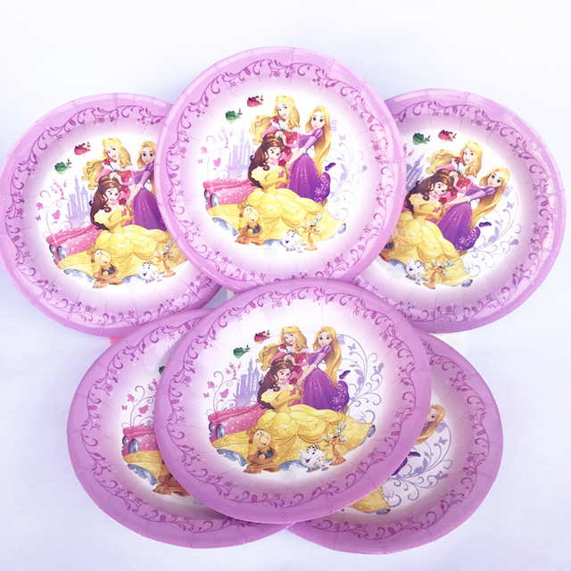 6pcs Princess Belle Snow White Disposable Plates 8th Birthday Party Tableware Decorations Baby Shower Childrens Day Favor Ideas