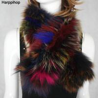 Free Shipping Fox Fur Scarf Hand Knitted Genuine Fox Fur Scarf Neck Warmer Women and Men Fox Fur Scarf Collar Winter Neckerchief