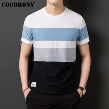 COODRONY T Shirt Men Streetwear Striped O-Neck Tshirt Short Sleeve T-Shirt Clothes 2019 Summer Cotton Tee Homme S95131