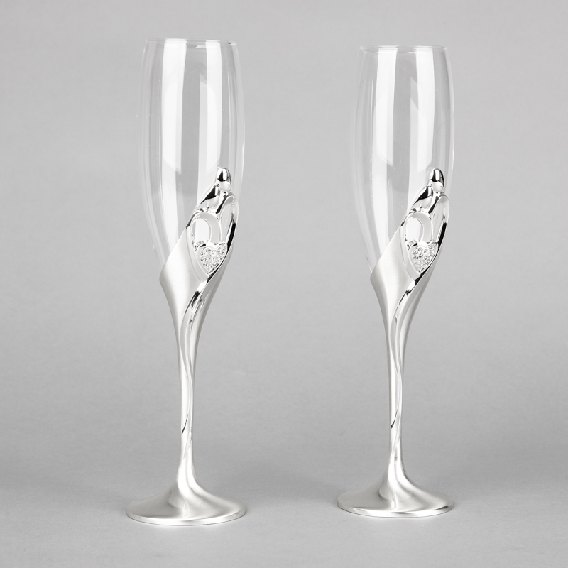 2015 New Arrival Fashion 26cm Height Wedding Champagne Glasses Goblet Toast Flute Silver Martini Glass Party