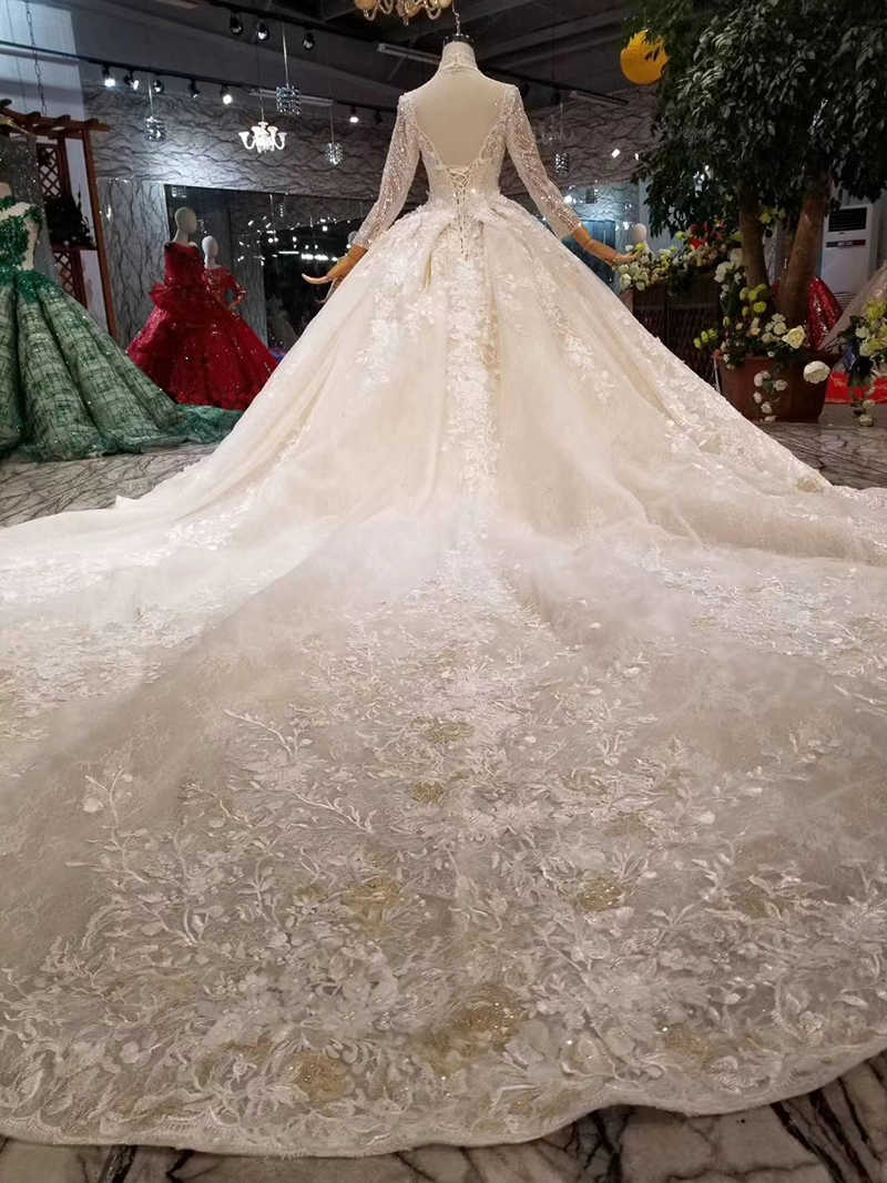 LSS445 luxo vestidos de noiva de alta pescoço longo tulle mangas frisado vestidos de casamento 2019 flor long train vestido de noiva abito sposa