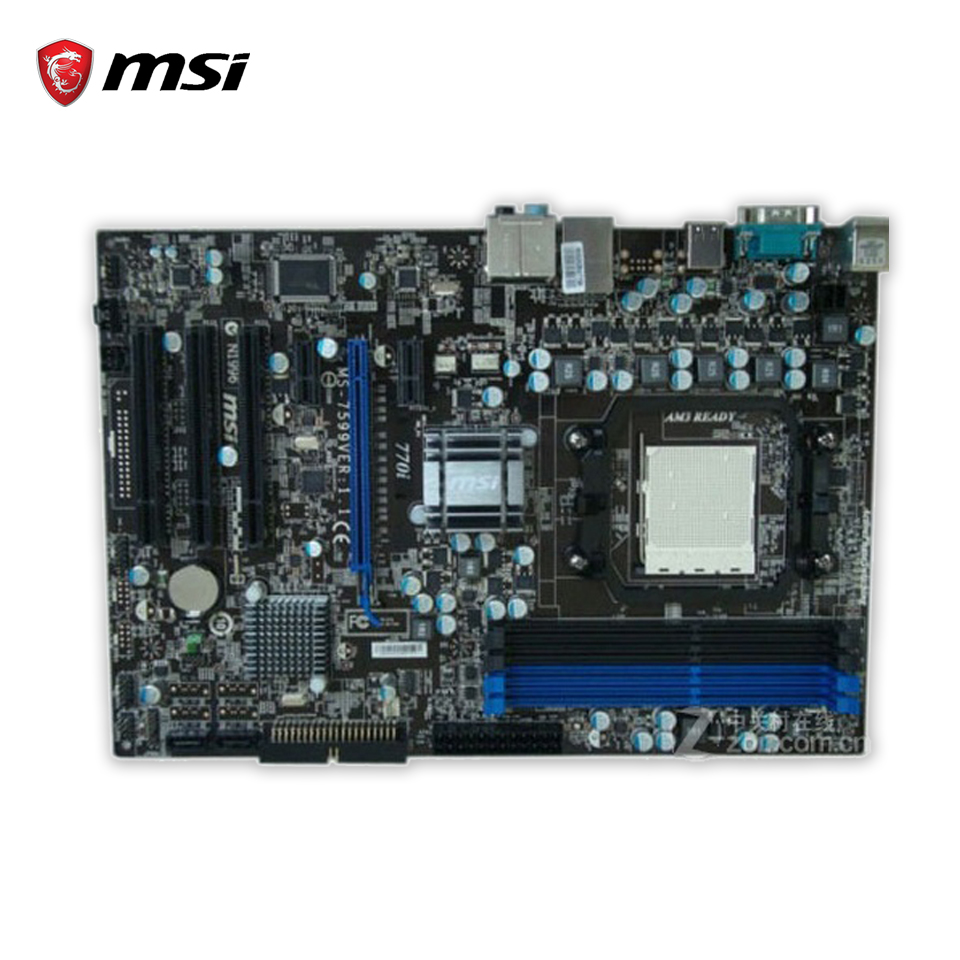 все цены на  MSI 770i Original Used Desktop Motherboard 770 Socket AM3 DDR3 16G STAT2 USB2.0 ATX  онлайн