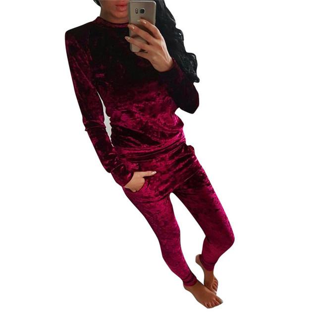 2016 Otoño Invierno Nuevo 2 Unidades Set mujeres Moda Para Mujer brillante Traje de Terciopelo Señoras Tops + Pants Casual Sólido Conjunto De Femme 24N262