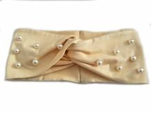 T17620 2017 new Lady fashion good stretch 100% cotton turban hair headband white pearl custom headband for women