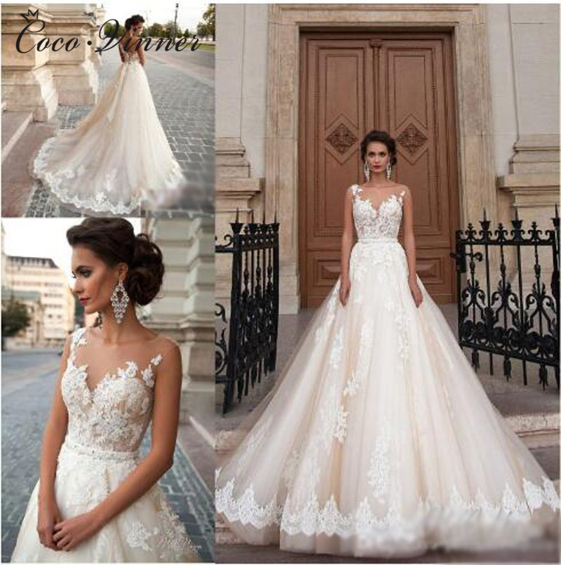 Illusion Back Embroidry Arab Wedding Dress 2019 Vestido De Novia Lace Appliques Beaded Princess Tulle Wedding Dresses W0047