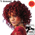 Fashion rihanna Peluca Charming Kinky curly Wigs African American Kinky Curly Wine Red Short Wigs Synthetic Hair For Black Women
