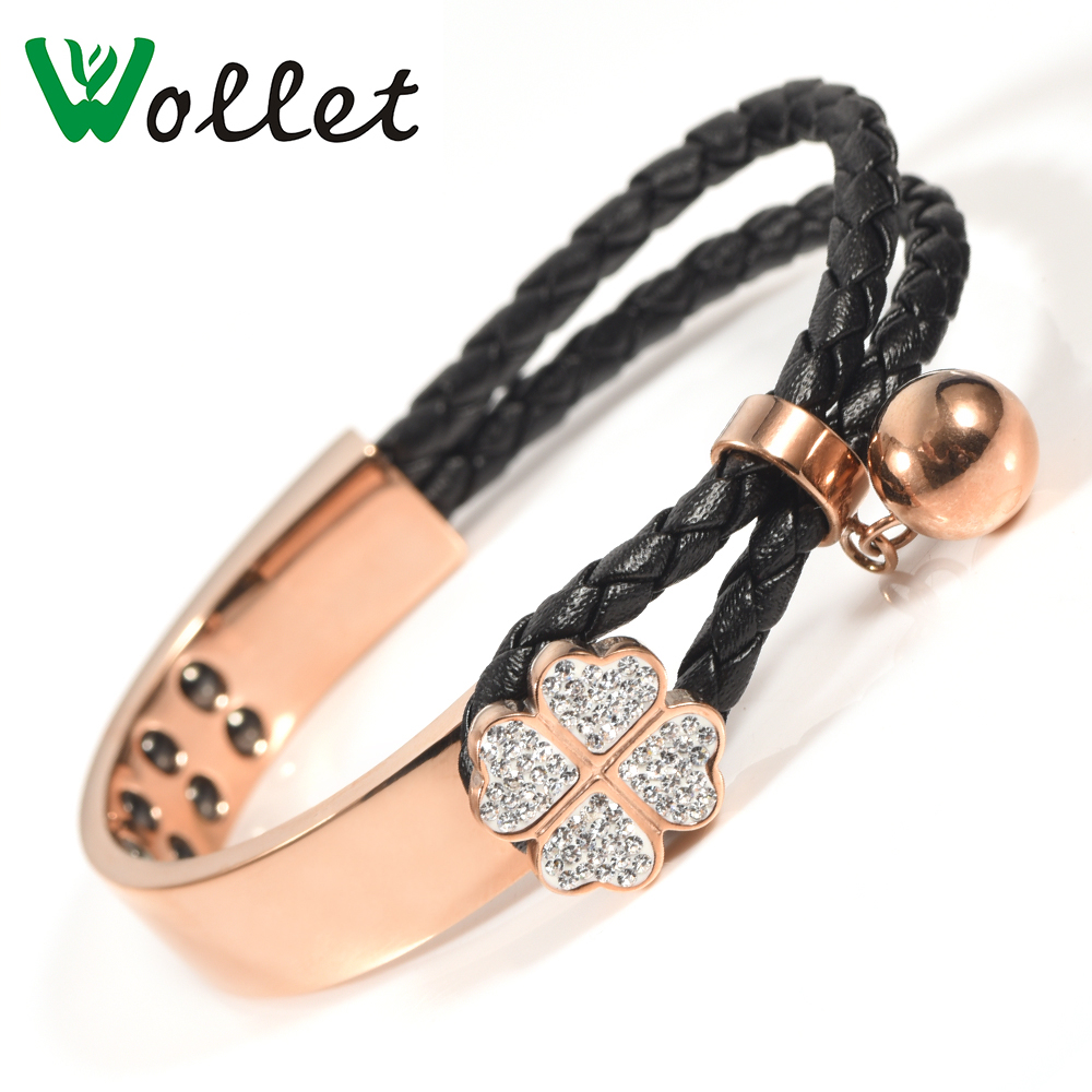 Wollet Jewelry Stainless Steel Bracelet Bangle for Women CZ Stone Metallic Rose Gold Clover Flower Hematite Germanium Black Wire