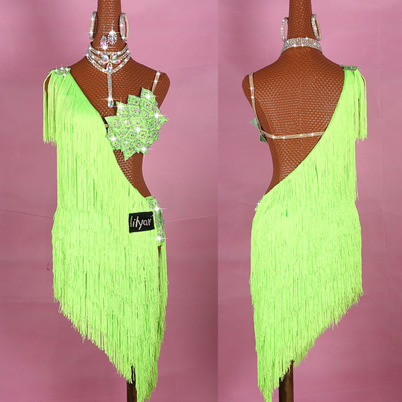 Unique Latin Dance Dress For Women Neon Green Thick Tassels Fringe Dress Stage Dance Costume Competition Latin Dresses VDB145