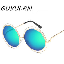4e03124af6 GUYULAN Women large coating lens Sunglasses UV400 brand design Retro Metal  Round frame Glasses Men driving