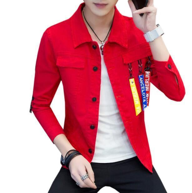 #3404 Spring 2019 Slim Denim Jacket Men Ribbons Streetwear Casual Red Black Jeans Jackets Homme