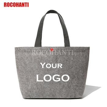406a39d7f Bolsas de compras reutilizables de tela de fieltro de lana de reciclaje  bolsas de compras personalizadas logotipo de la empresa de impresión de  regalo ...