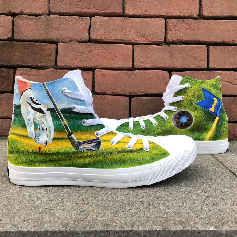 Wen Design Custom Hand Painted Original Shoes Playing Golf High Top Mens Canvas Skateboarding Shoes Womens Sport Sneakers mens converse shoes custom hand painted hunger game high top black canvas sneakers unique presents