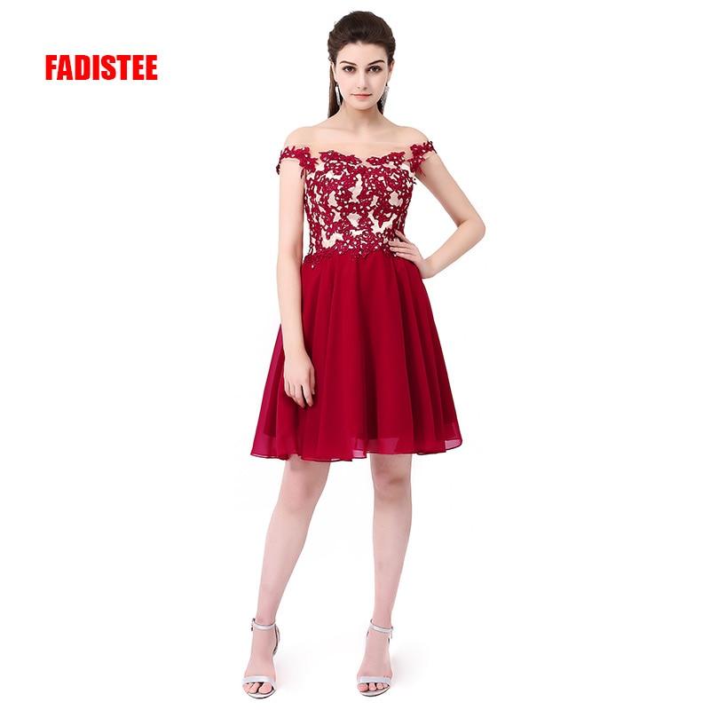 FADISTEE Новое прибытие Формальные вечерние платья Vestido de Festa платье аппликации Бисероплетение Мини Короткие Стиль Бордовое платье