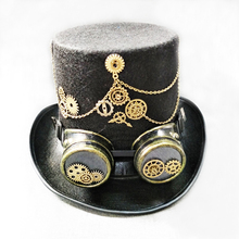 Steam Punk Gothic Vintage Hat Gear Glasses Party Fedora Top