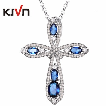 KIVN Jewelry Blue Cubic Zirconia Womens Girls Bridal Wedding Cross Pendant Necklaces Birthday Christmas Gifts 6pcs Lot Wholesale