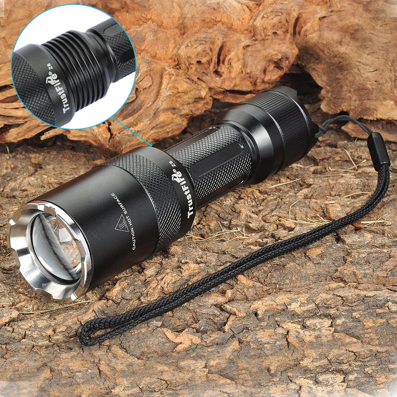 Z6 1000LM 5-Mode Memory White LED Convex Lens Flashlight w/ Strap (1 x 18650) new c15 1000lm 5 mode white light flashlight coffee 1 x 18650