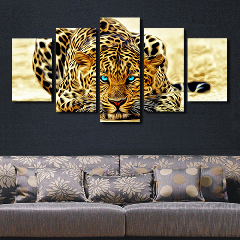 Unframed 5pcs Flower Leopard Hunting High Quality Canvas Print Painting Modern Home Living Room Wall Art Decoration Picture
